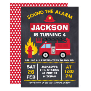 Fire Engine Or Truck Birthday Invitation