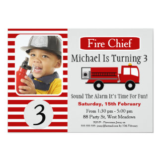 Fire Engine Photo Birthday Party Invitation