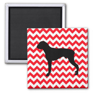 Fire Engine Red Chevron With Boxer Silhouette 2 Inch Square Magnet