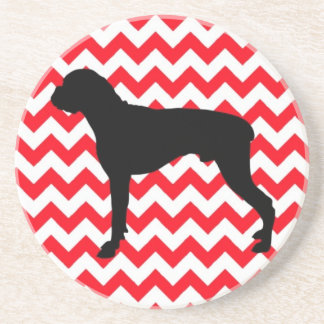Fire Engine Red Chevron With Boxer Silhouette Sandstone Coaster