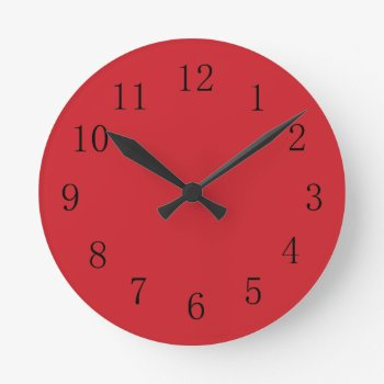 Fire Engine Red Kitchen Wall Clock by Red_Clocks at Zazzle
