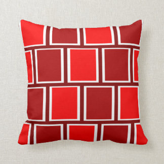 Fire Engine Red Modern Geometric Squares Pattern Throw Pillow