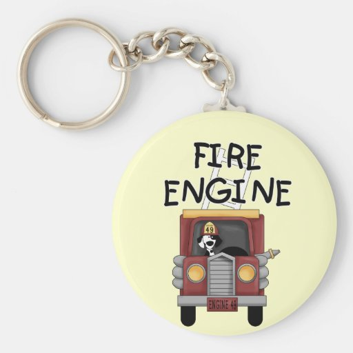 Fire Engine T-shirts and Gifts Basic Round Button Keychain