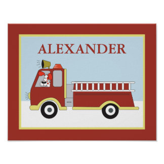 FIRE ENGINE Truck Boys Art Room Print with dog
