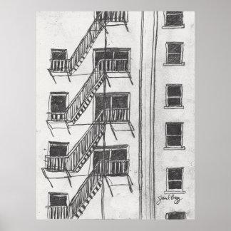 Fire Escape by Janel Bragg Poster