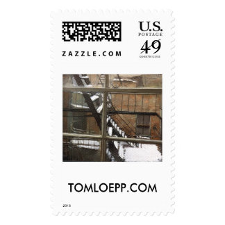 Fire Escape in the Snow, New York City Stamp