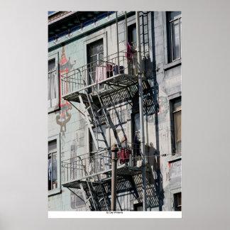 Fire Escapes, Chinatown, San Francisco, California Poster