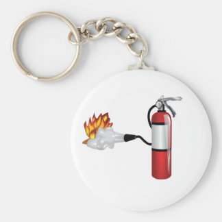 Fire Extinguisher Putting Out Fire Keychain Basic Round Button Keychain