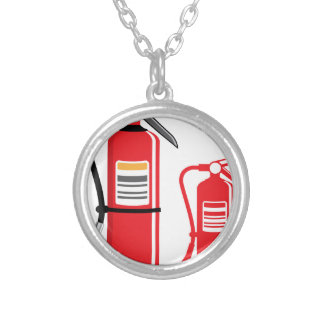 Fire extinguisher Vector Silver Plated Necklace