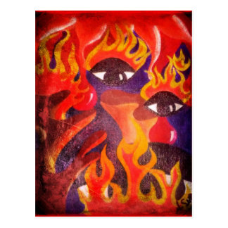 Fire, Eyes, Blood Abstract Image! Postcard