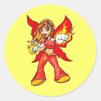 Fire Faerie Classic Round Sticker