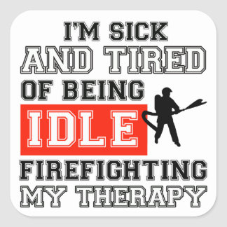 fire fight my therapy square sticker
