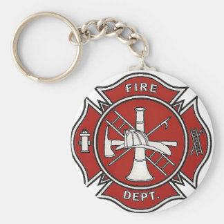 Fire Fighter Badge Basic Round Button Keychain