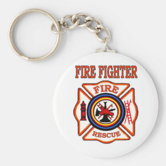 FIRE FIGHTER BASIC ROUND BUTTON KEYCHAIN