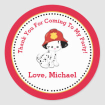 Fire Fighter Birthday Party Favor Tag Sticker