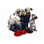 Fire Fighter Boots filled with Dalmatians Postcard