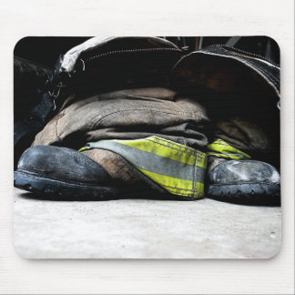 Fire Fighter Boots Mousepad