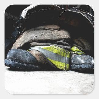 Fire Fighter Boots Square Sticker