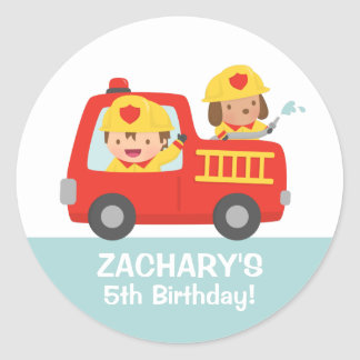 Fire fighter Boy in Red Fire Truck Birthday Party Classic Round Sticker