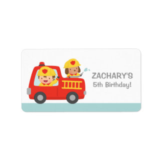 Fire fighter Boy in Red Fire Truck Birthday Party Label