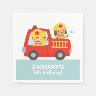 Fire fighter Boy in Red Fire Truck Birthday Party Napkin
