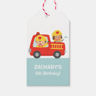 Fire fighter Boy in Red Fire Truck Birthday Party Pack Of Gift Tags