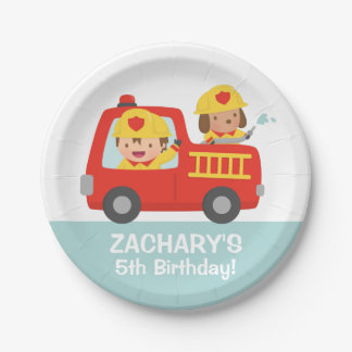 Fire fighter Boy in Red Fire Truck Birthday Party 7 Inch Paper Plate