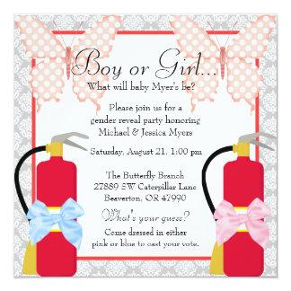 Fire Fighter & Butterfly Chevron Gender Reveal Card