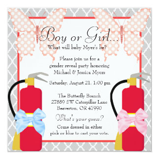 Fire Fighter & Butterfly Damask Gender Reveal Card