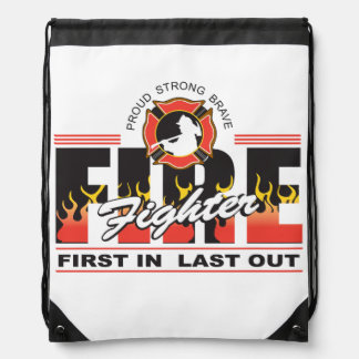 Fire Fighter First In, Last Out Drawstring Backpack