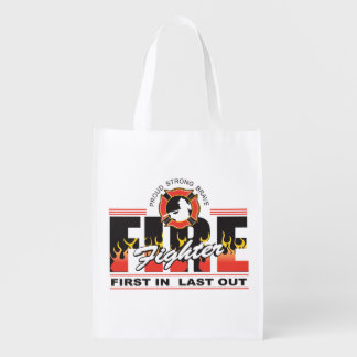 Fire Fighter First In, Last Out Reusable Grocery Bag