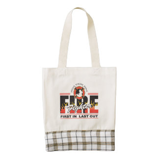 Fire Fighter First In, Last Out Zazzle HEART Tote Bag