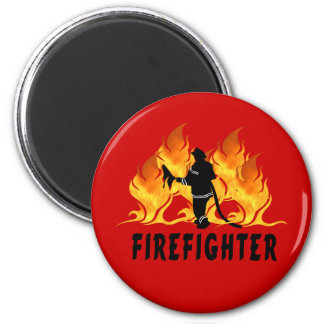 Fire Fighter Flames 2 Inch Round Magnet