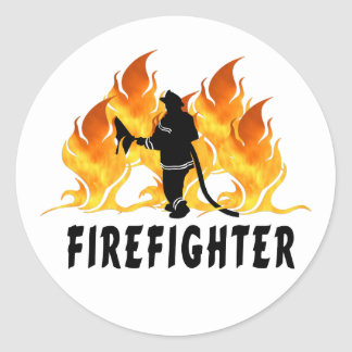 Fire Fighter Flames Classic Round Sticker