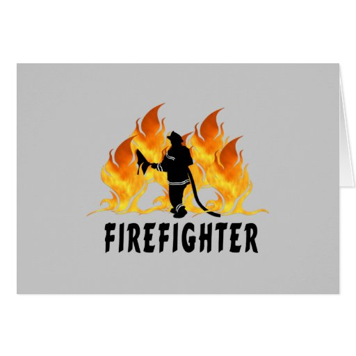 Fire Fighter Flames Greeting Cards