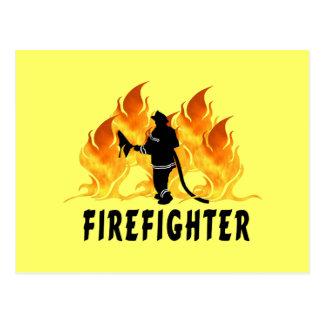 Fire Fighter Flames Postcard