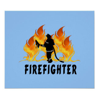 Fire Fighter Flames Poster