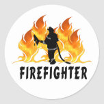 Fire Fighter Flames Round Stickers