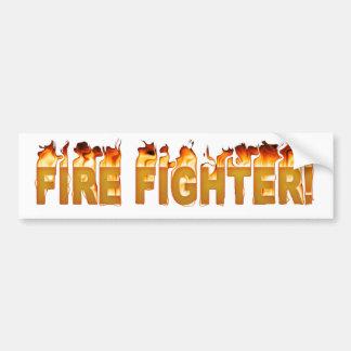FIRE FIGHTER FLAMING TEXT BUMPER STICKER