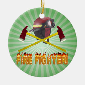 FIRE FIGHTER GEAR LOGO FLAMING TEXT CERAMIC ORNAMENT