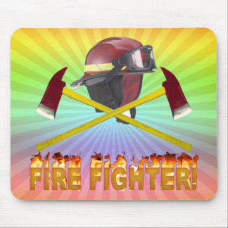 FIRE FIGHTER GEAR LOGO FLAMING TEXT MOUSE PAD