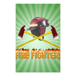 FIRE FIGHTER GEAR LOGO FLAMING TEXT STATIONERY