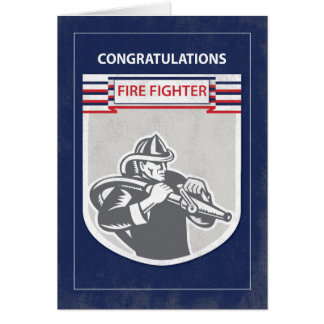 Fire Fighter Graduate Congratulations, Blue Card