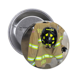 fire fighter helmit and jacket pinback button