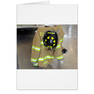 fire fighter helmit and jacket greeting cards