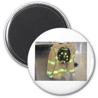 fire fighter helmit and jacket fridge magnets