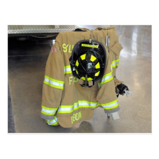 fire fighter helmit and jacket postcards