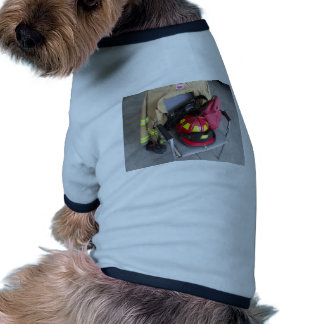 fire fighter helmit on chair doggie tee shirt