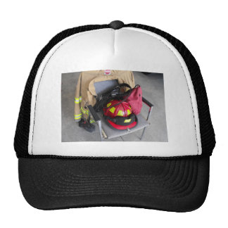 fire fighter helmit on chair hat