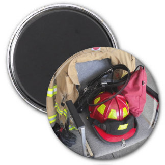fire fighter helmit on chair refrigerator magnet